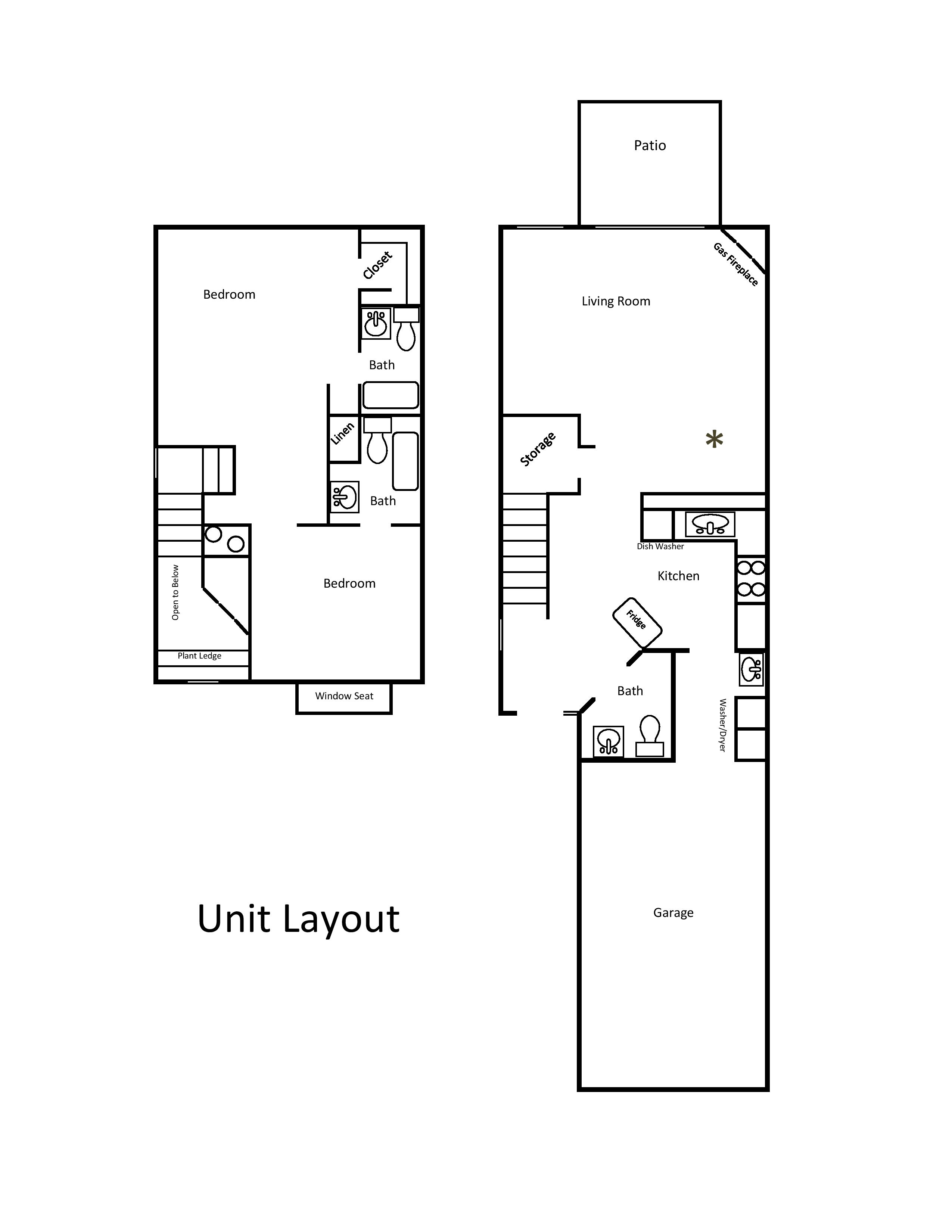 Townhome layout townhouse apartments redding for Townhome layouts